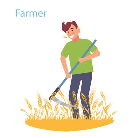 A farmer mows the field with wheat scythe. Vector illustration
