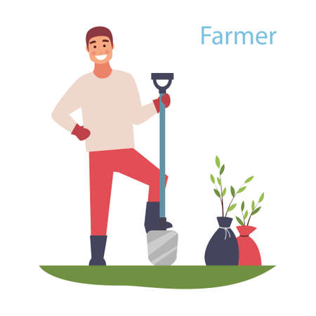 Cheerful guy plants trees. Young guy working in the garden. Natural landscape. Flat vector design.