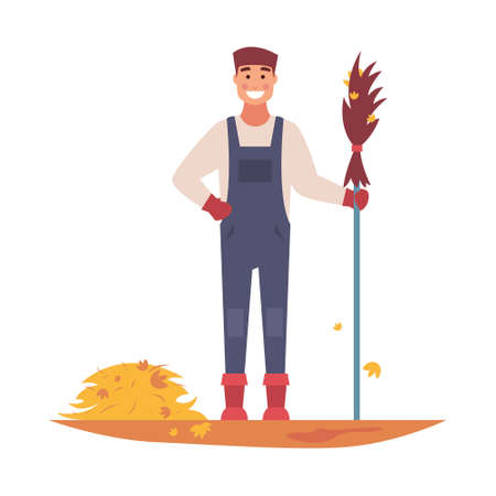The janitor sweeps the fallen leaves with a broom. Vector illustration on white isolated background.