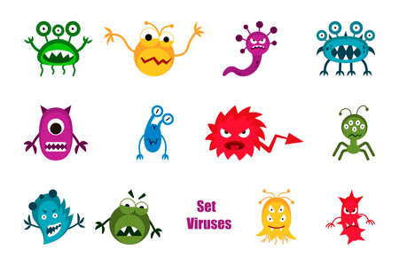 Bacteria and germs colorful set micro-organisms disease-causing objects, bacteria, viruses, pandemic microbes, fungi. Vector isolated cartoon biological icons.