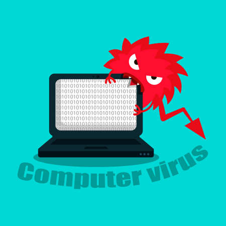 A virus that destroys a laptop. Computer under the threat of a virus, the virus eats the system. Vector illustration.