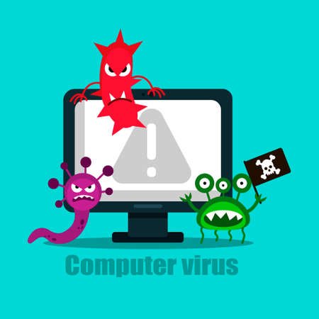 A virus that destroys a computer. Vector illustration.