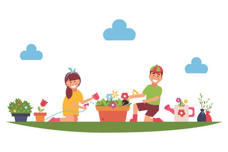 Cartoon children farmers work in the garden or farm. Plant flowers. Vector illustration.