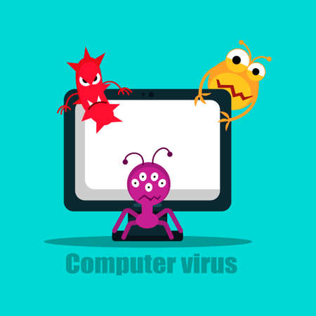 Computer virus internet security attack, vector illustration