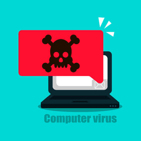 Laptop vector alert, malware concept, spam data, web fraud, insecure connection, online fraud, virus