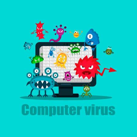 Atak bezpieczeństwa internetowego wirusa komputerowego, ilustracji wektorowych