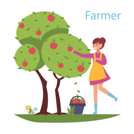 Reaping the harvest - flat design style illustration. Composition with a cute girl who collects apples from the tree. Efficient and successful farming business concept.