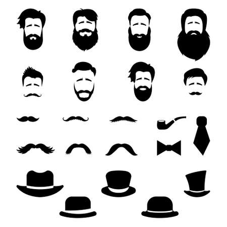 Retro, vintage gentleman set. A collection of diverse male faces, hats and mustaches. Vector
