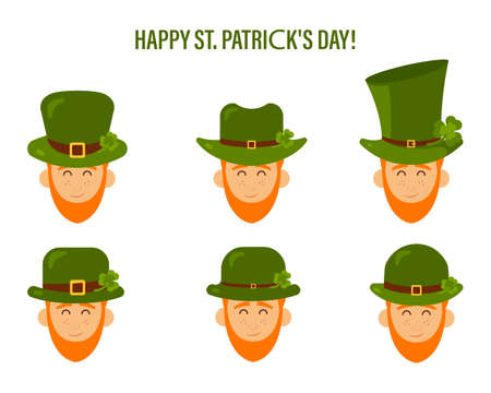 Set of vector modern flat people, icon design for St. Patricks Day character Leprechaun with green hat, red beard.