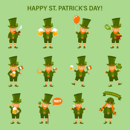 St. Patricks Day, gnomes and traditional elements: hat, pot of gold, chimney, horseshoe, clover, beer and flag ball Vector illustration Çizim
