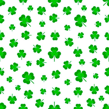 Three-leaf clover, pattern on a white background. Vector illustration