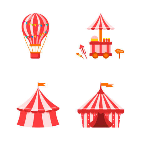 An amusement park with a circus, a tent, a big balloon and a carnival fun fair. Vector illustration on white isolated background. Çizim