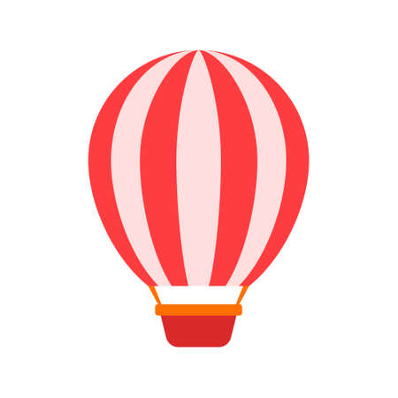 Balloon in red and white stripes on a white background with a basket. Çizim