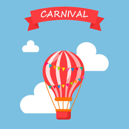 Balloon in the sky in the clouds, vector illustration, background, postcard, carnival