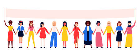 Vector flat design concept illustration of women of the world in a poster for your design.