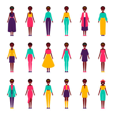 Girls with a collection of clothes. African American. Bright sets. Vector illustration