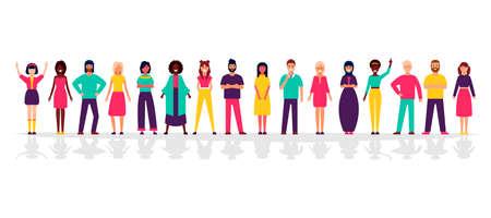 Een groep mensen die zich op een witte achtergrond bevinden. Mensen uit het bedrijfsleven en zakenvrouwen in platte ontwerpkarakters.