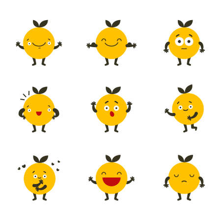 Emoji Colored Flat Icons Set. Sad and happy mood icons. Character set. Çizim