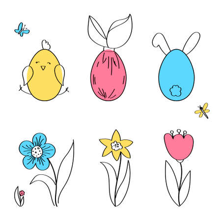 Easter horizontal borders with funny cute chickens and rabbits, flowers, insects, flat vector illustration. Çizim