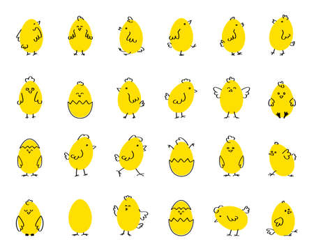 Easter funny cute chickens, flat vector illustration on white isolated background. Set.