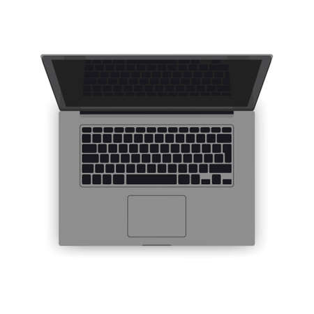Vector realistic grey laptop mockup. 3d computer illustration detailed keyboard, screen, touch pad top view. Blank modern mobile notebook, business equipment. Isolated illustration, white background.