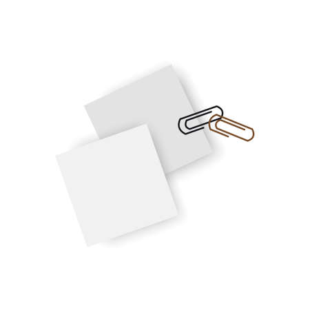White sticky stickers and clips isolated on white background. Vector illustration. Çizim