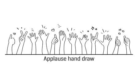 Applause hand draw, vector illustration on white background. Doodle. Çizim