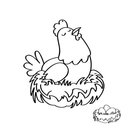 Hen illustration, a domestic pet animal vector