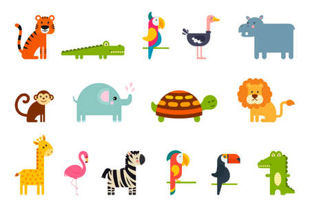 Set of popular colorful vector tropical animals and birds.