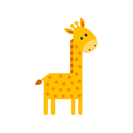 Cute cartoon trendy design little giraffe. Childrens picture. African animals wildlife vector illustration icon.