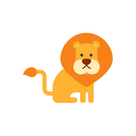 Vector illustration, cute funny lion. Simple style. Isolated objects. Flat design. Concept for children print Çizim