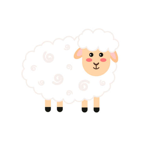Little lamb on a white background. Vector illustration