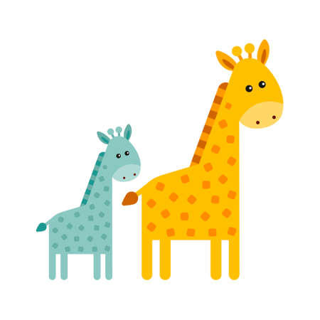 Cute cartoon fashionable design of small and big giraffes, mom and baby. African animals wildlife vector illustration icon.