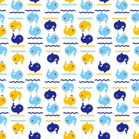 Sea life, whales on the waves. Seamless pattern. Vector