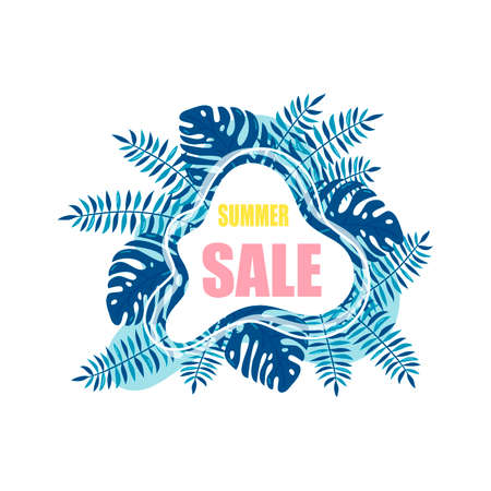 Summer sale template banner, poster with palm leaves, jungle leaf. Floral tropical summer background. Vector illustration Çizim