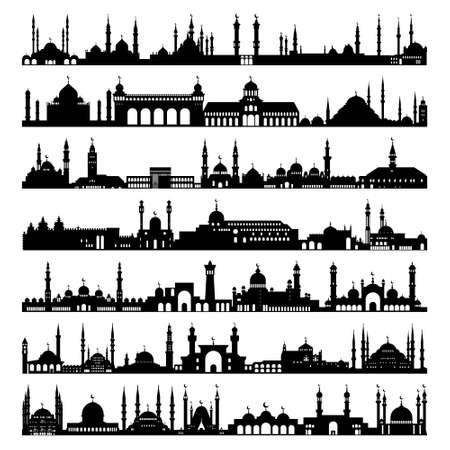 Set of mosques, vector icons. Symbol. A simple set of illustrations, editable icons, can be used in the logo Çizim