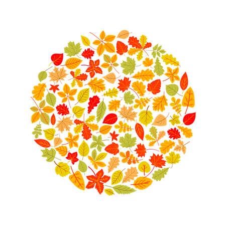 Bright banner for the autumn sale in the form of a circle made of leaves. Vector illustration on a white background