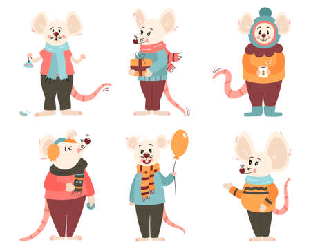 Set of six funny rats of New Year characters in winter clothes. In cartoon style. Vector illustration