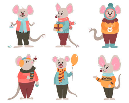 Set of six funny mice characters of the new year in winter clothes. In cartoon style. Vector illustration 向量圖像