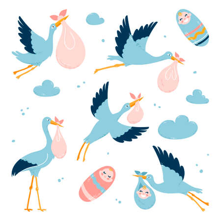 Storks carry children to their parents. Flying birds. Vector illustration on a white isolated background