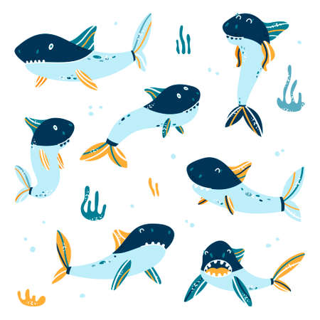 Shark. Ocean cartoon fish. Sharks for baby, children and family. Vector illustration of isolated icon set for pattern 向量圖像