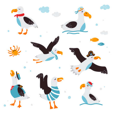Set of funny baby pictures of albatross on a white isolated background. Vector illustration. 向量圖像
