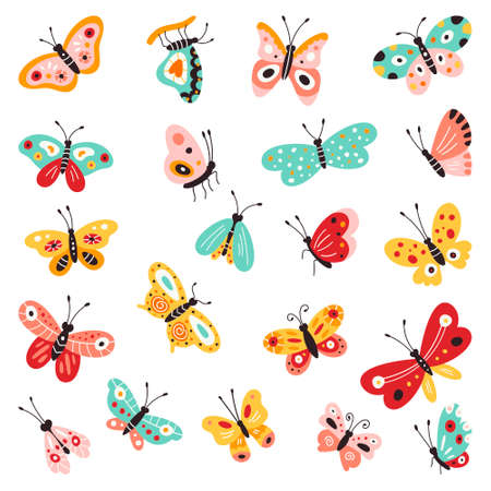 Butterflies, set of hand drawn collection on isolated white background. Vector illustrations. Creative Fluttering, beautiful butterflies