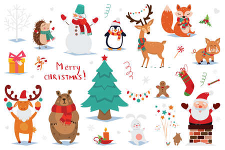Set of Christmas and New Year elements with animals and Santa. Vector illustration