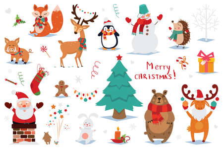 Set of Christmas and New Year elements with animals and Santa. Vector illustration. 向量圖像