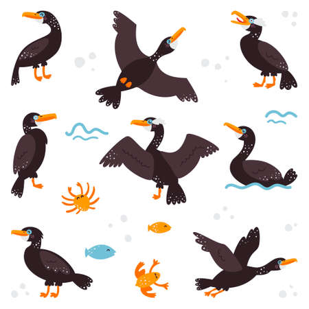 Double-breasted cormorant on a white isolated background. Set. Childrens pictures 向量圖像