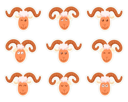 Sweet funny cartoon sheep kids character. Vector illustration on a white background. Stickers
