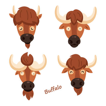 Set of cute bison. Sticker. Childrens, funny. Cartoon comic book style vector illustration of forest wild animals. Buffalo. Europe and North America animals