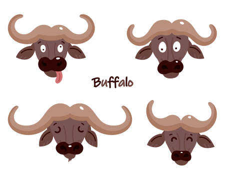 Set of cute buffalos. Sticker. Childrens, funny. Cartoon comic book style vector illustration of forest wild animals