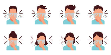 Personal Hygiene - Covering Mouth with tissue while sneezing - Icon as EPS 10 File Illustration